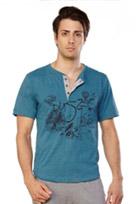 Mens free spirit Henley Shirt printed Image
